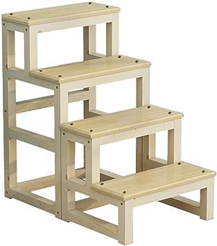 YZQ Escalera Plegable Inicio Heces,Heces de Paso Completo de Madera para Adultos Taburete Plegable de 4 Capas Pedal Escalada en la Cocina Casera de Múltiples Funciones Portable Simple Escalera Mueble: Amazon.es: Bricolaje
