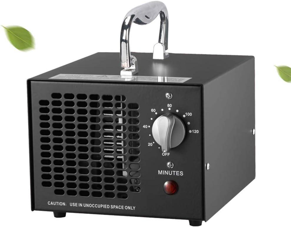 NA Generador de ozono Comercial 5000mg / h Máquina de ozono Desodorizante de ionizadores de Aire para el hogar para Habitaciones, Humo, automóviles y Mascotas, Negro, Blanco