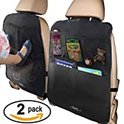 MyTravelAide Kick Mats with Car Backseat Organizer - XL Storage Pocket - 2 Pack - 100% Waterproof - Premium XL Protector for Car Seat Back