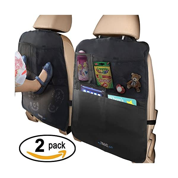 MyTravelAide Kick Mats With Car Backseat Organizer   XL Storage Pocket   2 Pack   100% Waterproof   Premium XL Protector For Car Seat Back