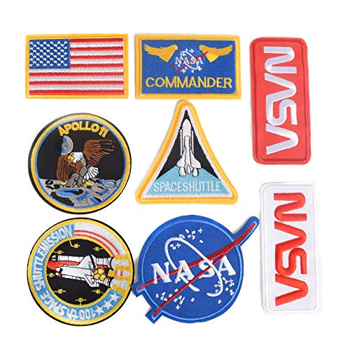 J.CARP 8pcs NASA Iron On or Sew On Embroidery Patches, NASA Office Logo, USA Flag Patch for DIY Jeans, Jacket, Kid's Clothing, Bag, Caps, Arts Craft Sew Making