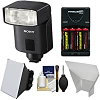Sony Alpha HVL-F32M Compact Flash with Batteries & Charger + Soft Box + Bounce Diffuser