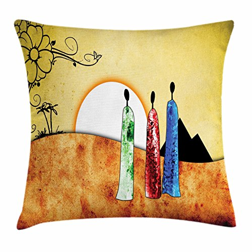 Ambesonne African Throw Pillow Cushion Cover, African People Facing Large Sun in Savannah Desert Boho Tribal Wildlife Illustration, Decorative Square Accent Pillow Case, 36 X 36 Inches, Multi