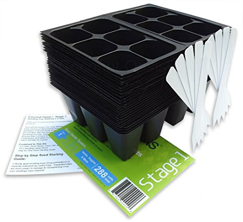 288 Cells Seedling Starter Trays w/10 Plant Labels and Seed Starter Guide by Coconut Oasis, (48 Trays; 6-cells Per Tray); STAGE 1; (144 cells x 2) by Coconut Oasis