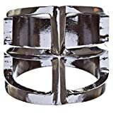 ACCESSORIESFOREVER Trendy Square Shaped Hollow Design Statement Fashion Size 8 Ring R215 Black