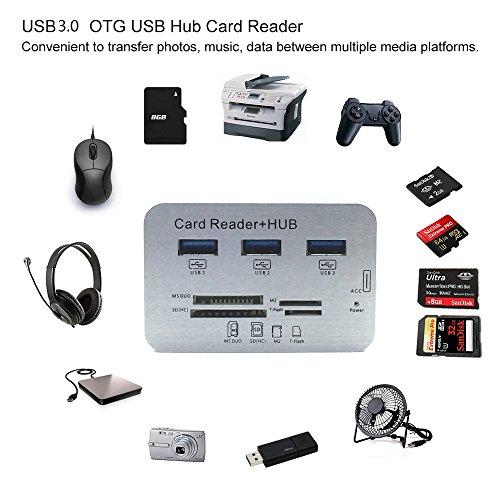 ERCRYSTO USB3.0 Card Reader Hub, High Speed External Memory Card