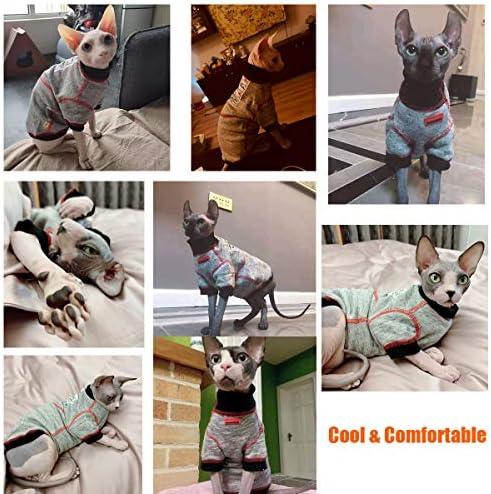 Bonaweite Hairless Cats Sweatshirt Turtleneck Vest, Breathable Adorable Cat Wear Shirt Clothes, Cat's Pajamas Jumpsuit for Sphynx, Cornish Rex, Devon Rex, Peterbald 24