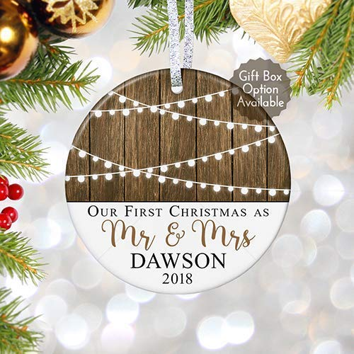 First Christmas as Mr & Mrs Ornament 2018, Personalized Rustic 1st Married Christmas Ornament, Newlyweds Wedding Gift - 3 Flat Circle Porcelain Ceramic Ornament - Gold & Silver Ribbon | PGM-OR-59