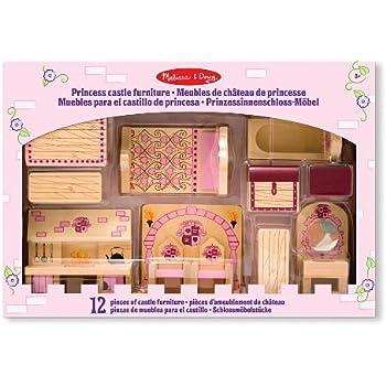 Melissa U0026 Doug Princess Castle Wooden Dollhouse Furniture (12 ...