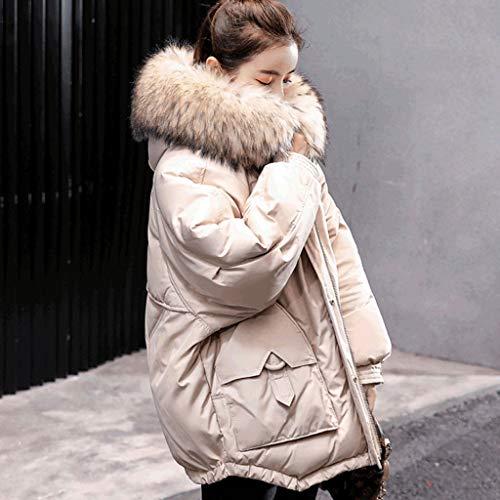 Pelliccia Piumino Corto Bianca Moda Collo Nuovo Invernale In Sciolto Cappotti Beige Bianco Grande Cotone OItxIA