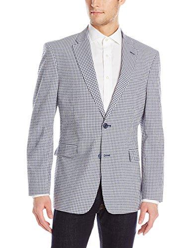 Tommy Hilfiger Men's Gibbs Cotton Stretch Seersucker Sport Coat, Blue, 42 Long (Jacket Seersucker Cotton)