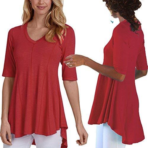 Bluse Camicetta Shirts Primaverile Estivi 4 Monocromo Casual Moda Slim di Manica Camicia Chic 3 Elegante Irregular Ragazza V Donna Rot Fit Pieghe Moda Neck FWWSr4Xc