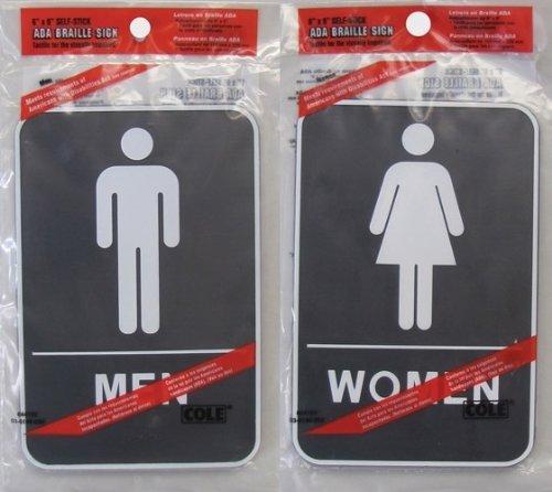 Mens & Womens ADA Braille 6x9 Self Stick Bathroom Sign Restroom Men Women