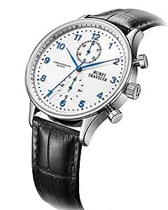 BUREI Dress Chronograph Watch Blue Arabic Numerals Analog Quartz Stopwatch with Black Leather Band
