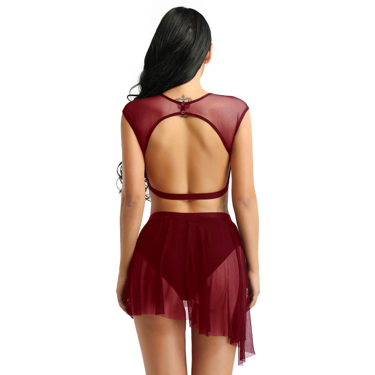 Jupe de Danse XS-XL Freebily 2 pcs Maillots V/êtements de Danse Gym Femmes Adulte Justaucorps de Ballet Latin Asym/étrique Tenues pour Danse Performances Crop Tops