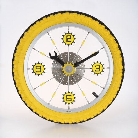 (Maple's Aluminum Bicycle Wheel with Rubber Tire Wall Clock, Yellow)