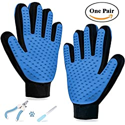 Pet Grooming Gloves 2-in-1 Combo Pet Hair Remover Brush Deshedding Mitt Massage Glove HelloPet Pair Bathing Comb For Dogs Cats Horses Bunnies for Long & Short Fur with Pet Nail Scissors (Blue01)