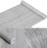 Amao Grey Wood Grain Contact Paper Peel & Stick Wallpaper for Shelf Liner Counter Top Livingroom 17.7''x78.7''