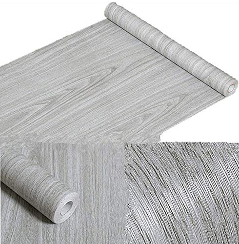 Amao Grey Wood Grain Contact Paper Peel & Stick Wallpaper for Shelf Liner Counter Top Livingroom 17.7''x78.7'' by Amao