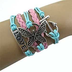 Doinshop New Useful Cute Nice Fashion Infinity Love Butterfly Anchor Leather Charm Alloy Bracelet DIY