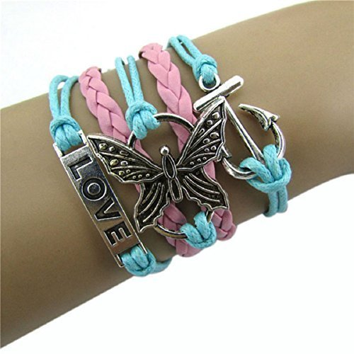 Doinshop New Useful Cute Nice Fashion Infinity Love Butterfly Anchor Leather Charm Alloy Bracelet DIY (Infinity Bracelet Cheap)
