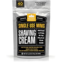 Pacific Shaving Company - SHAVING CREAM MINIS - Convenient Single-Use Shave Cream Pods in water soluble film. Safe Ingredients; Instant Lather. Perfect for Home, Travel, Gym / TSA Friendly (40 pack)