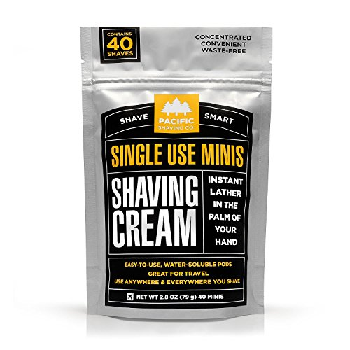 Pacific Shaving Company - SHAVING CREAM MINIS - Convenient Single-Use Shave Cream Pods in water soluble film. Safe Ingredients; Instant Lather. Perfect for Home, Travel, Gym/TSA Friendly (40 pack)