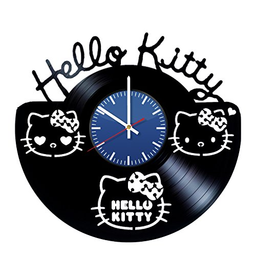 Hello Kitty Handmade Vinyl Record Wall Clock