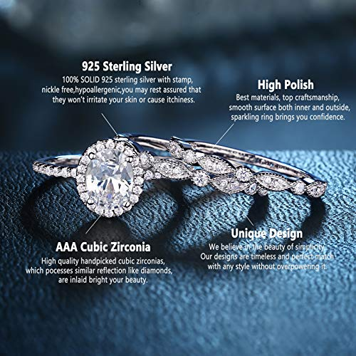 Newshe Jewellery Engagement Sets Wedding Rings for Women 925 Sterling Silver 3pcs White Cz Size 5-10 3