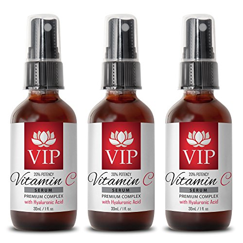 Serum with hyaluronic - VITAMIN C SERUM PREMIUM COMPLEX With Hyaluronic Acid (20% Potency) - Wrinkle vitamin - 3 Bottles by VIP VITAMINS