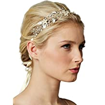 Mariell Freshwater Pearl and Crystal Bridal Headband Hair Vine - Handmade Design