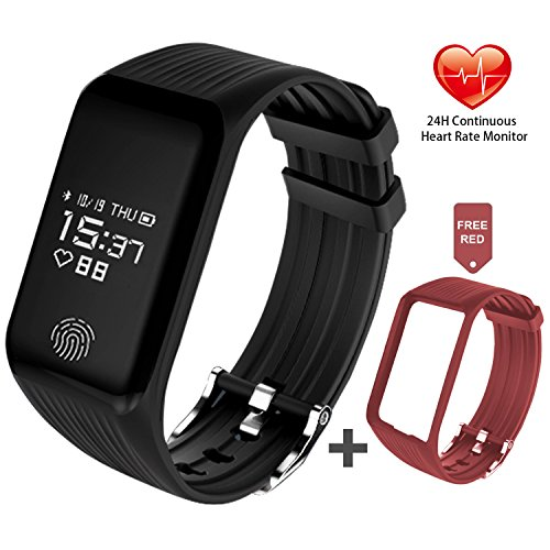 Fitness Tracker, FUNBOT Activity Tracker Heart Rate Monitor Smart Bracelet IP67 Waterproof Fitness Watch Sleep Monitor Pedometer Calorie Counter with Replacement Band for Android & iOS