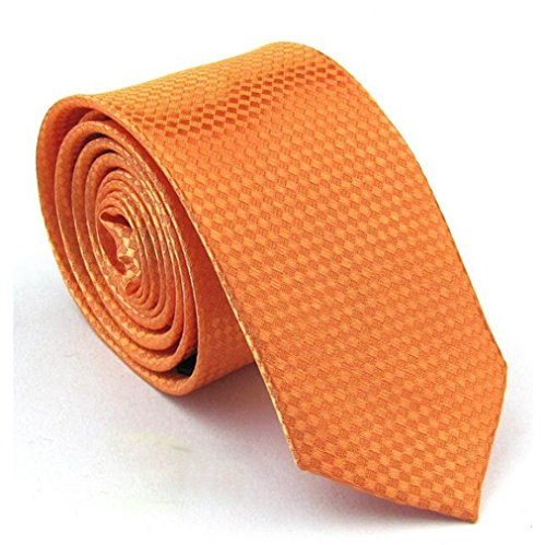 Mens Classic Shiny Tie Orange Groom Groomsmen Standard Plaid Woven Jacquard Tie Soild Men's Necktie Great for Daily Dress Wedding Engagement Business Meeting Birthday Party by SamGreatWorld -