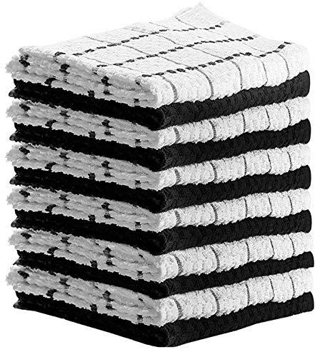 HomeLabels Kitchen Towels (12 Pack, 15 x 25 Inch) Cotton - Machine Washable - Extra Soft Set of 12 Black and White Dobby Weave Dish Towels, Tea Towels, Bar -