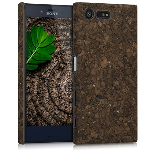 Dark Cover (kwmobile Cork case for Sony Xperia X Compact - protective case cover in dark brown)
