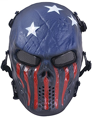 Airsoft Mask, Skull Full Face Mask with Metal Mesh Eye Protection for Airsoft CS War Game, Scary Halloween Mask for Halloween Night/ Cosplay / Christmas Gift ( Captian )