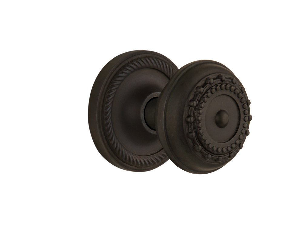 Nostalgic Warehouse Rope Rosette with Meadows Knob Oil-Rubbed Bronze Passage 2.75