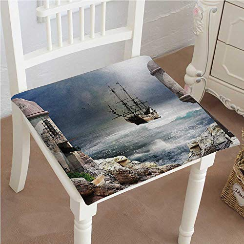 (Chair Pads Squared Seat Sailboat A Pirate Merchant Ship ed in The Bay of A Fort Abandoned Rocks at Shore Outdoor Dining Garden Patio Home Kitchen Office 28
