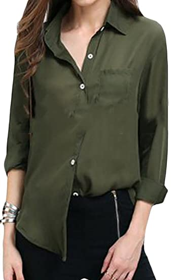 8759da4dc Pandapang Womens Long Sleeve Loose Solid Autumn Chiffon Button Down Shirts  Army Green X-Small