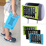 TFY Kids Car Headrest Mount Holder for iPad Mini & iPad Mini 2 - Detachable Lightweight Shockproof Anti-slip Soft Silicone Handle Case, Kids Security Hands-Free Headrest Travel Bracket Stand for Road Trip - Green