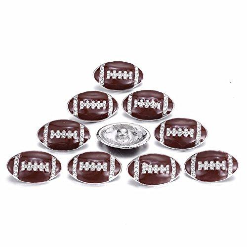 Lovglisten 10pcs Football Shape with Rhinestone and Enamel Snap Button Jewelry]()