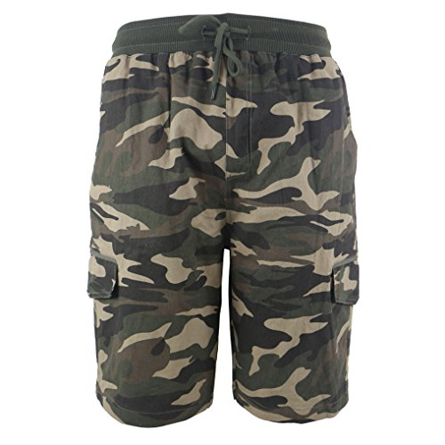 TanBridge Men's Cotton Cargo Shorts with Pockets Loose Fit Outdoor Wear Twill Elastic Waist Shorts Camo 32 ()