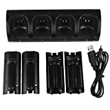 Kycola WK01 4 in 1 Wii Remote Controller Charging Station with 4 Rechargeable Batteries and LED Light(Black )