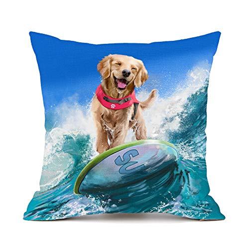 (Moyun Surfing Golden Retriever Dog Pattern Cotton Linen Throw Pillowcase Cushion Cover Car Sofa Home Decor 45 x 45 cm)