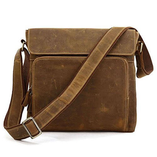 MUMUWU Men's Shoulder Bags Leather Crazy Horseskin Men's Bags Vintage Shoulder Bags Crossbody Bags Executive Shoulder Bag Men (Color : Brass, Size : L)