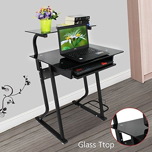 OGIMA Computer Desk With Sliding Keyboard PC Laptop Table Study Portable  Workstation Elevated Shelf For Home Office Dorm