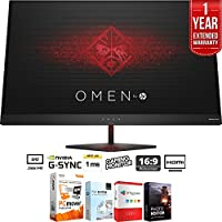 """HP Omen 27"""" QHD (2560 x 1440) 165Hz 1ms NVIDIA G-SYNC Gaming Monitor + Elite Suite 17 Standard Software Bundle (Corel WordPerfect, Winzip, PDF Fusion,X9) + 1 Year Extended Warranty"""