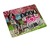 I Love Bluetick Coonhound Dogs in a Cart Art Portrait Print Woven Throw Sherpa Plush Fleece Blanket (50x60 Plush)