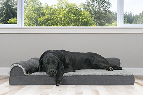 Furhaven Pet Dog Bed | Deluxe Orthopedic Faux Fur & Suede L-Shaped Chaise Couch Pet Bed for Dogs & Cats, Stone Gray, Jumbo
