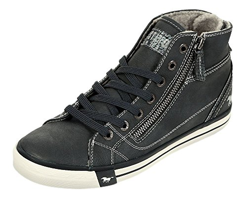 Mustang Damen High Top Sneaker gefüttert Bordeaux Blau (navy 820)